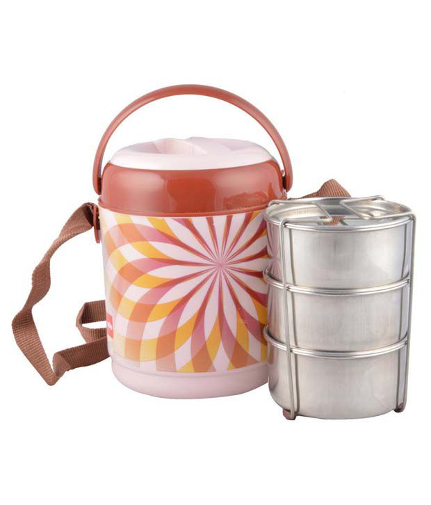 Cello Brown Virgin Plastic Lunch Box   Set Of 3 Containers