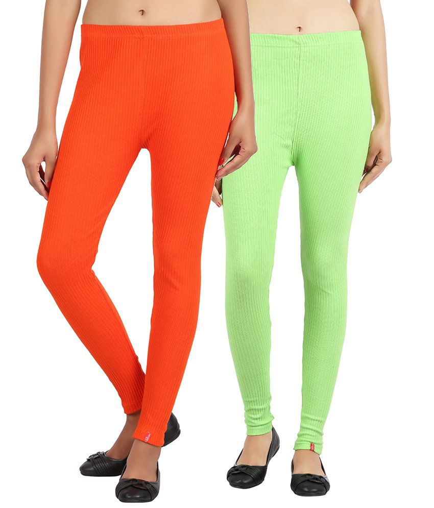 Notyetbyus Combo of Orange and Green Cotton Leggings (Pack of 2)