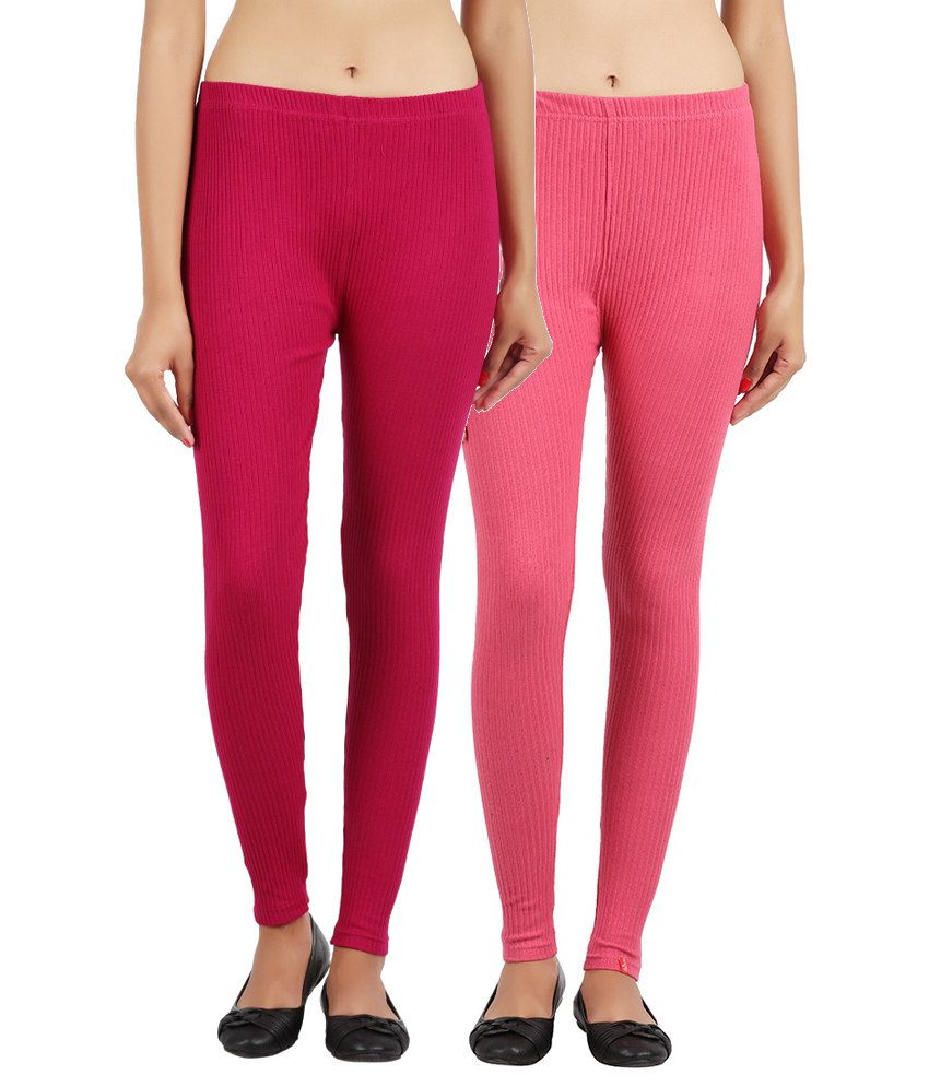 Notyetbyus Combo of Pink Cotton Leggings (Pack of 2)
