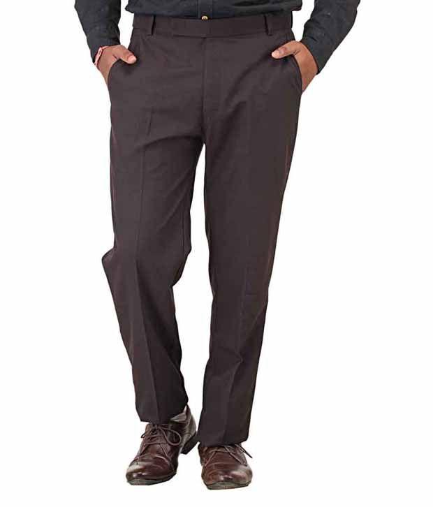 Ohio Brown Regular Fit Formals Trouser