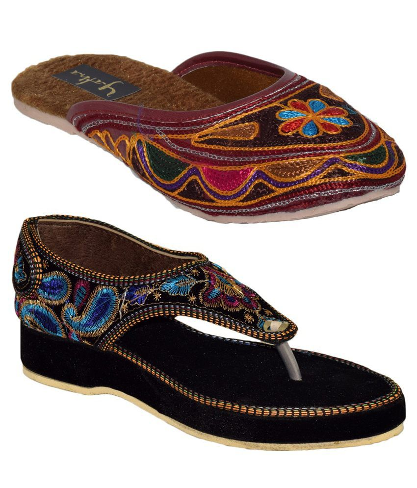 Yatha Multicolor Wedge Sandals and Flat Slip Ons Combo