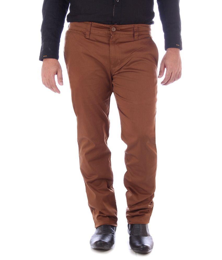 Yup Brown Cotton Regular Fit Chinos