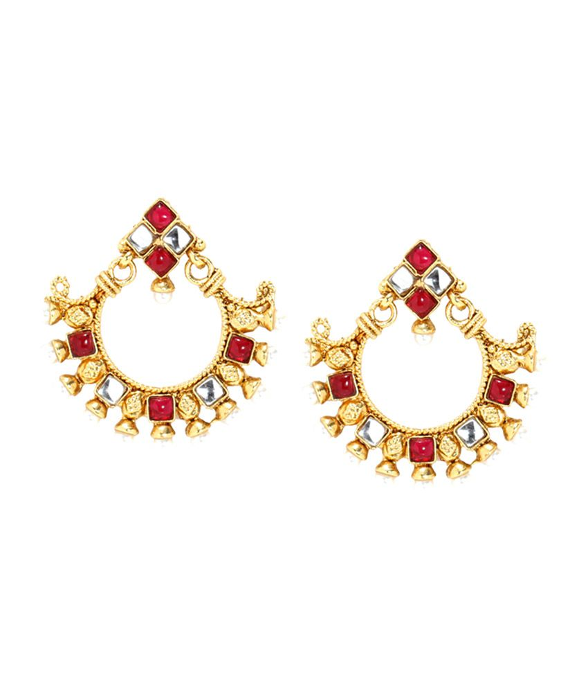 Bindhani Maroon and Gold Alloy Hanging Earrings