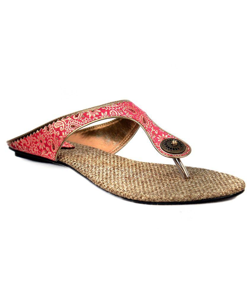 Glamwalk Pink Flat Slip Ons