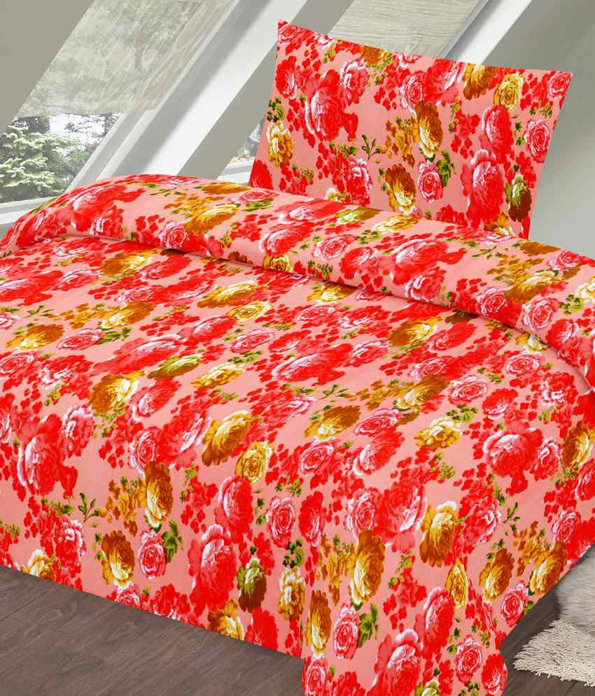 Vintana Orange Satin Single Bedsheet With 1 Pillow Cover