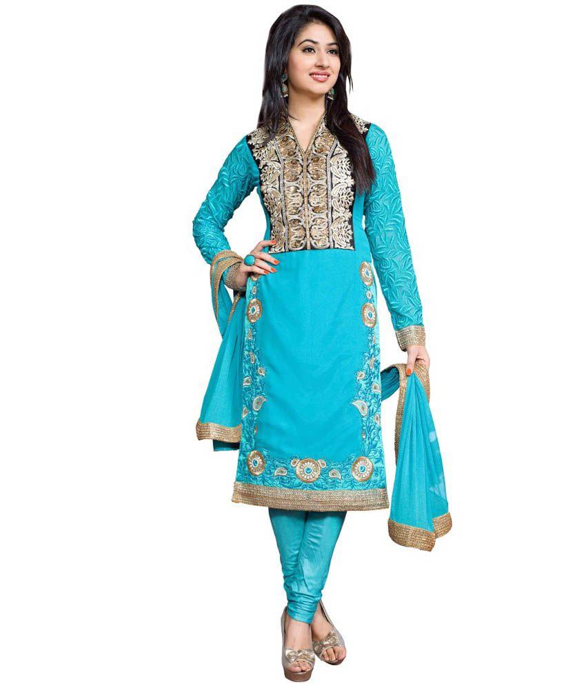 Creative Art Blue Pure Georgette Unstitched Dress Material ...