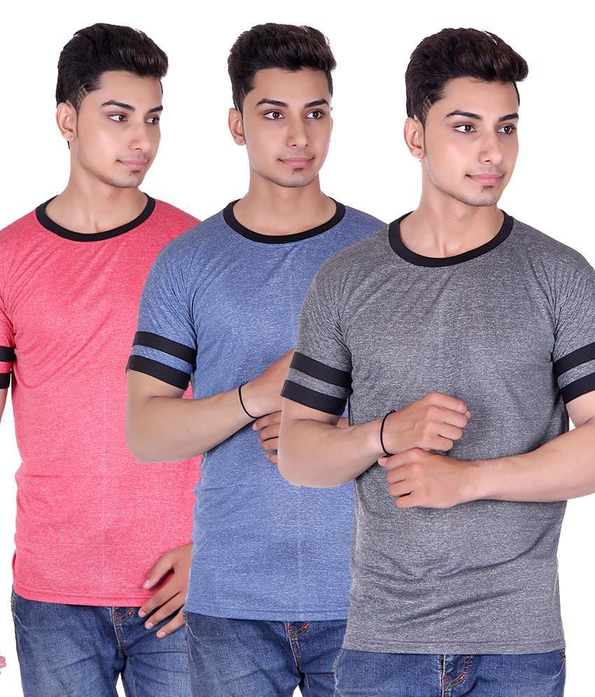 Gag Wear Multicolour Half Sleeves Basic Wear T-shirt - Pack Of 3