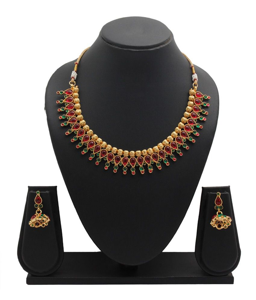 Party Queen Maroon Alloy Necklace Set