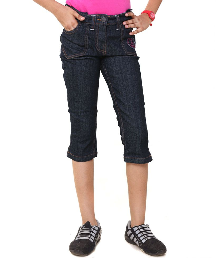 Menthol Black Denim Capri