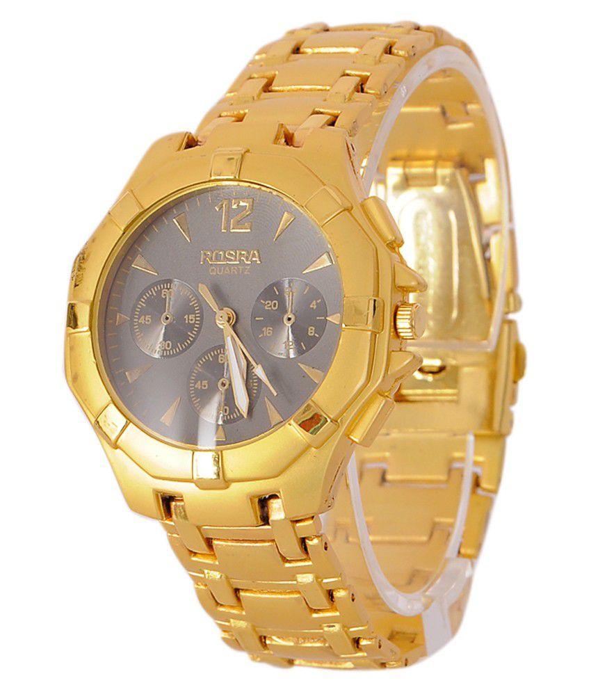 Rosra golden steel analog watch buy rosra golden steel analog watch online at best prices in for Rosra watches