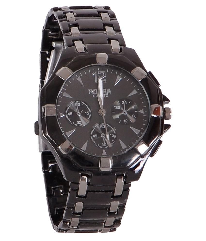 Rosra silver black analog watch buy rosra silver black analog watch online at best prices in for Rosra watches
