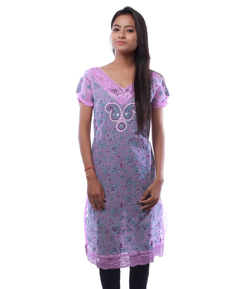 Ada Lucknow Chikankari Hand Made Purple Cotton Hand Embroidered Lucknow Chikankari Kurti by Ada
