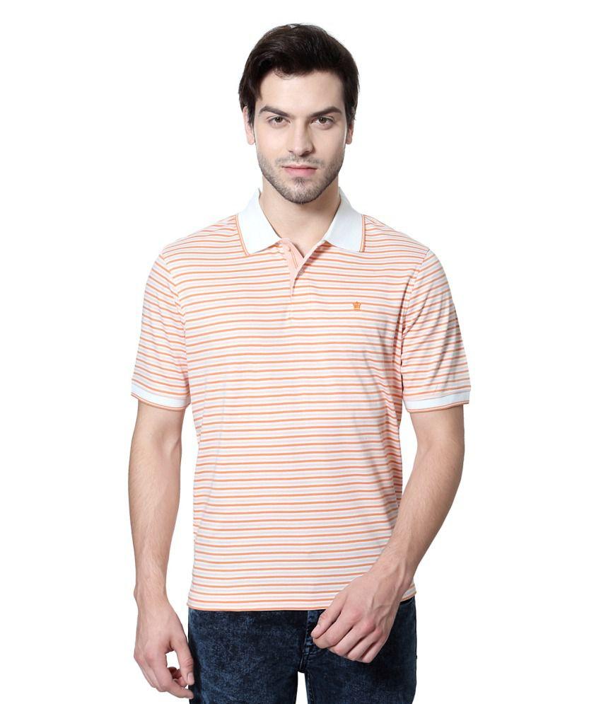 Louis Philippe Orange Cotton Polo T-shirt