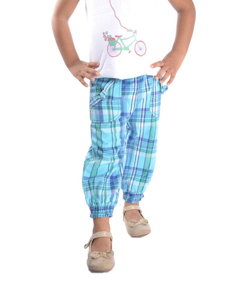Oye Blue Checkered Capri for Girls