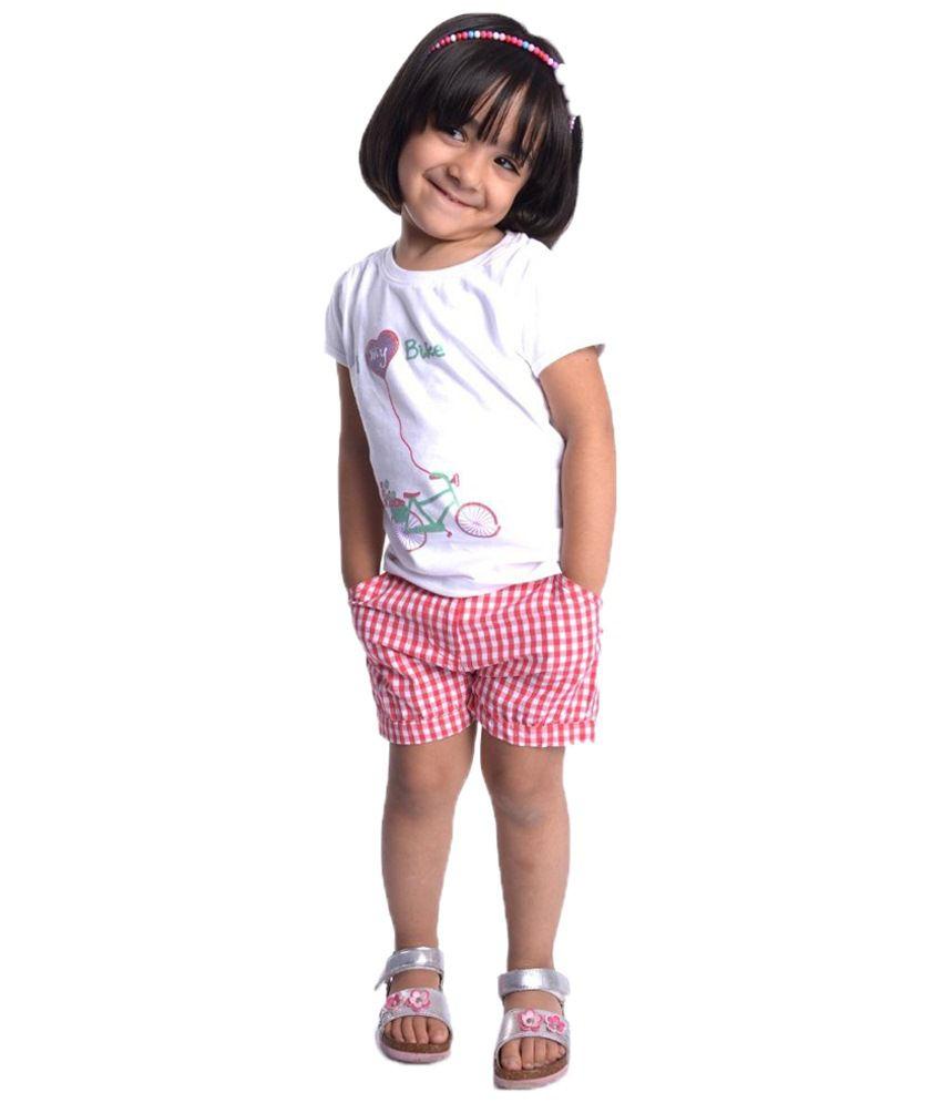 Oye Red Gingham Shorts for Girls