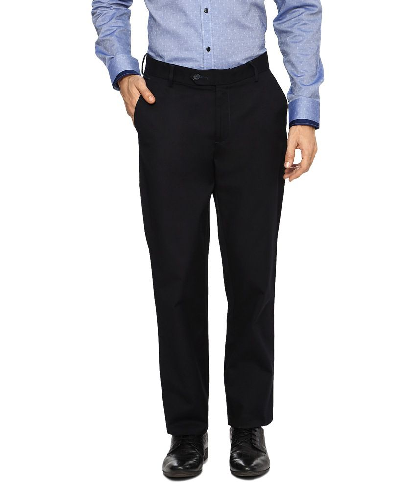 Peter England Navy Blue Formal Trousers