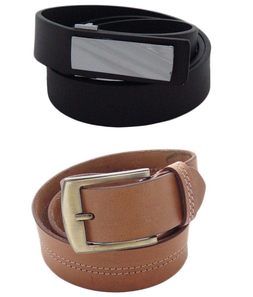 SFA Combo of 2 Black & Brown Casual Belts