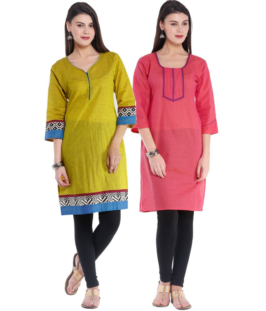 Almas combo of green and pink cotton kurtis set of 2 - Combination of green and pink ...