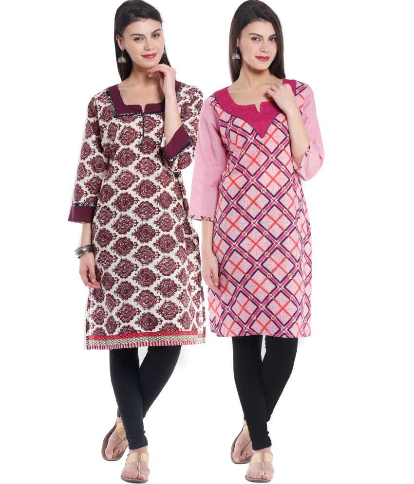 Almas Combo Of Maroon And Pink Cotton Kurtis Set Of 2