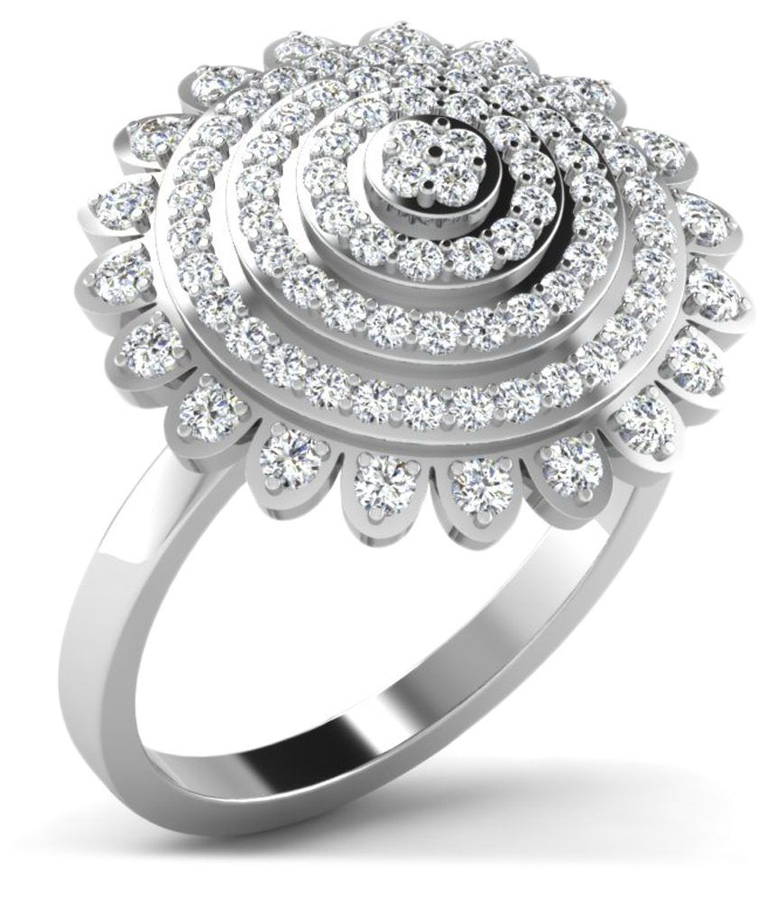Fullcutdiamond 18 Kt White Gold & 0.89 Ct Diamond Cluster Ring for Women