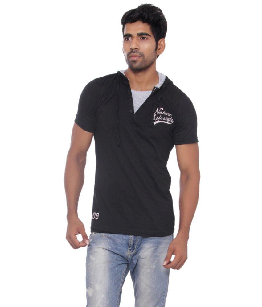 Pezzava Black Cotton Blend Hooded T-shirt