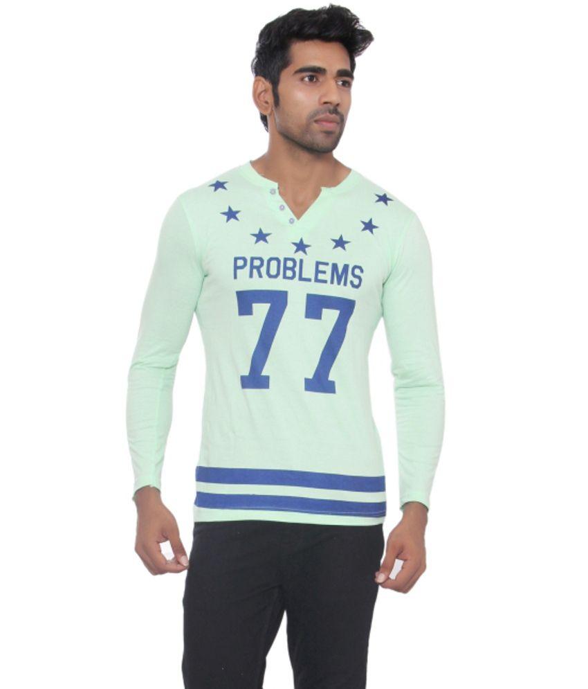 Pezzava Green and Blue Cotton Blend T-shirt