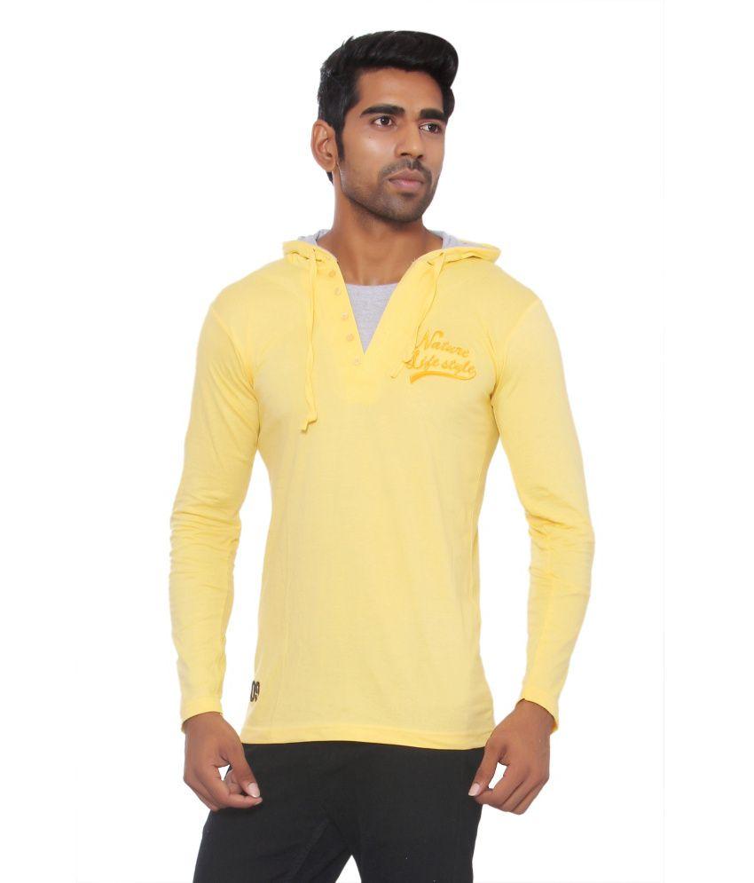 Pezzava Yellow Cotton Blend Hooded T-shirt