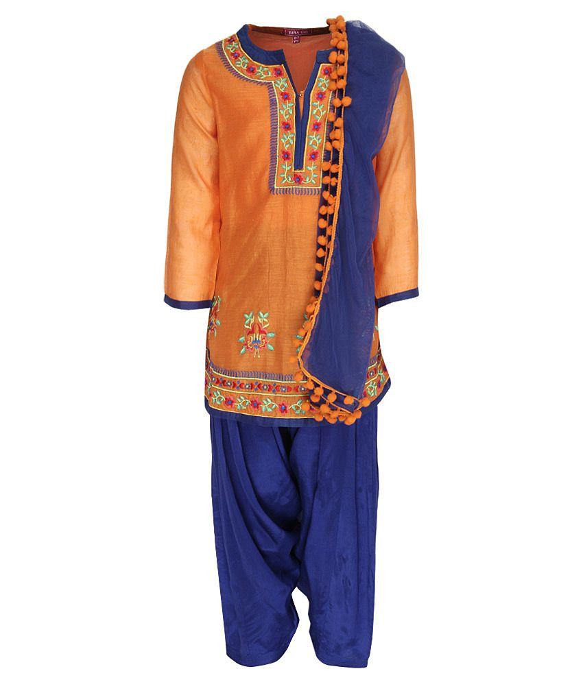 Biba Orange & Blue Salwar Kurta With Dupatta