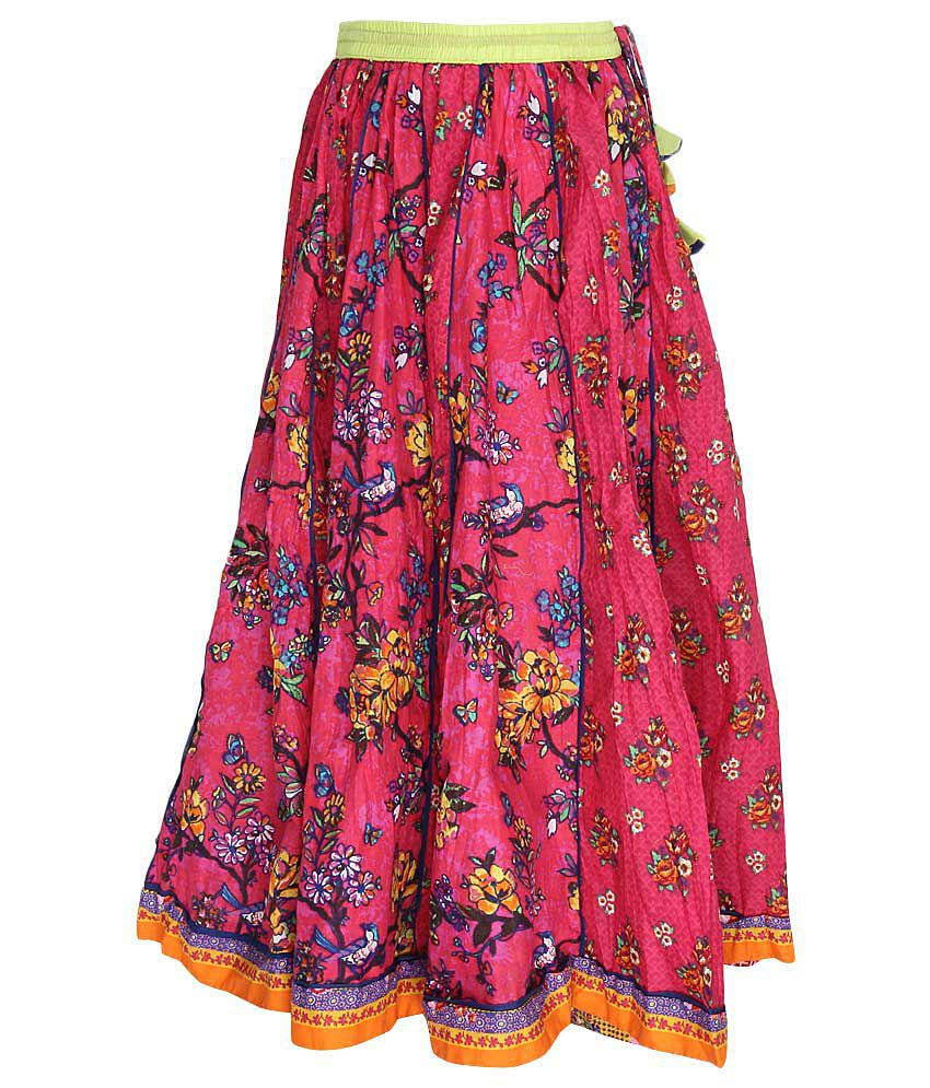 Biba Pink Printed Long Skirt