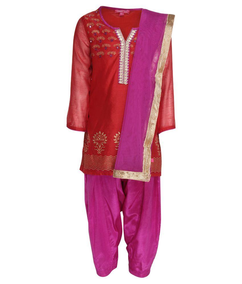 Biba Red & Purple Salwar Kurta With Dupatta