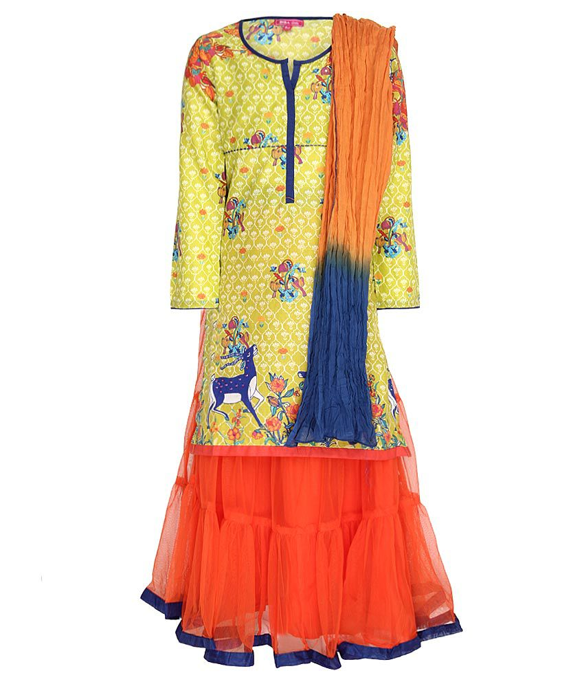 Biba Yellow & Orange Lehnga Kurta With Dupatta