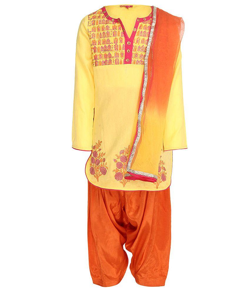 Biba Yellow & Orange Salwar Kurta With Dupatta