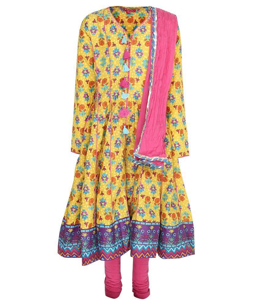 Biba Yellow & Pink Churidar Anarkali Kurta With Dupatta