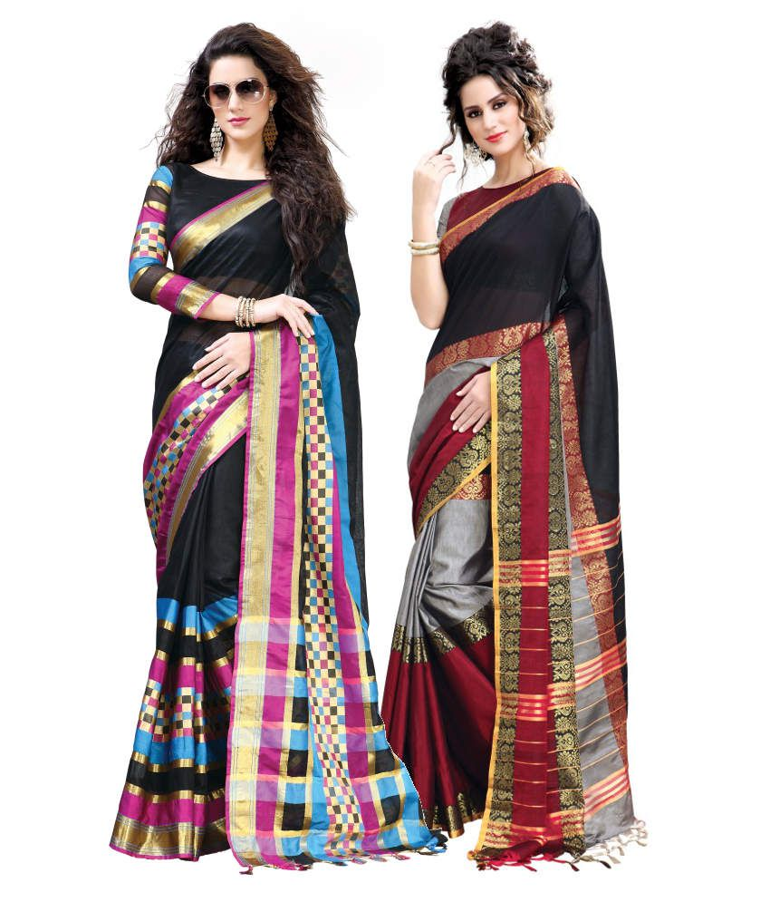 Reet Combo of Black Cotton Sarees with Blouse Piece