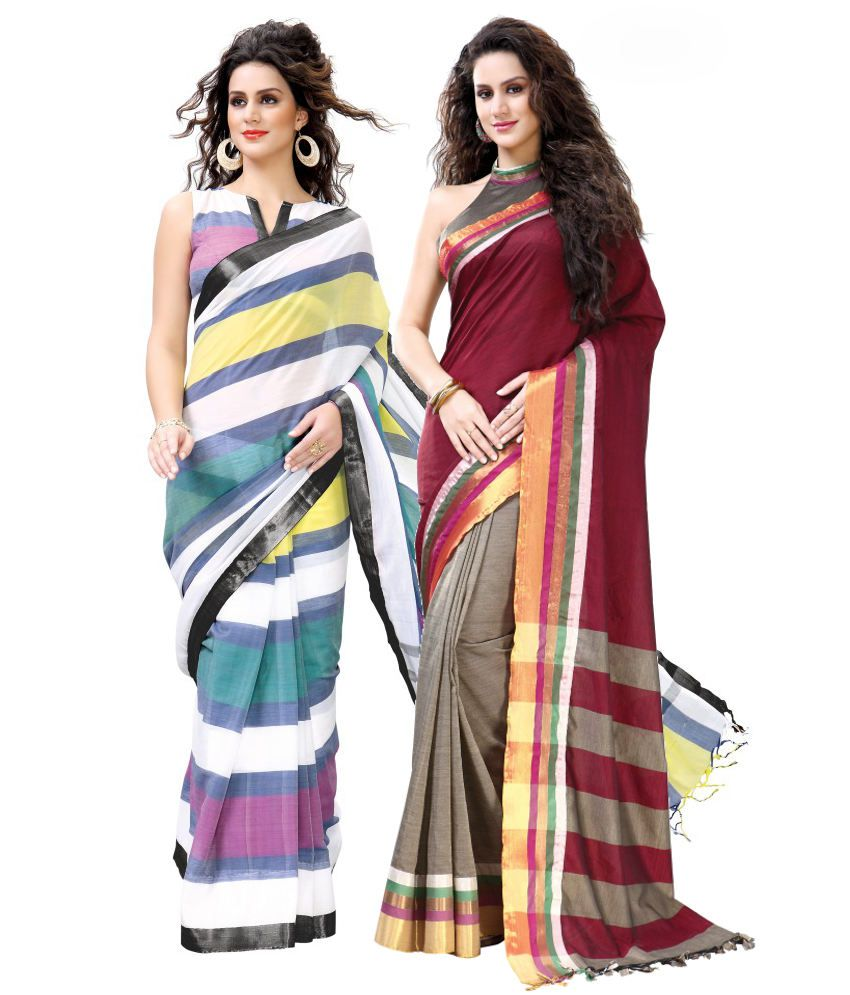 Reet Combo of Green and Maroon Cotton Sarees with Blouse Piece