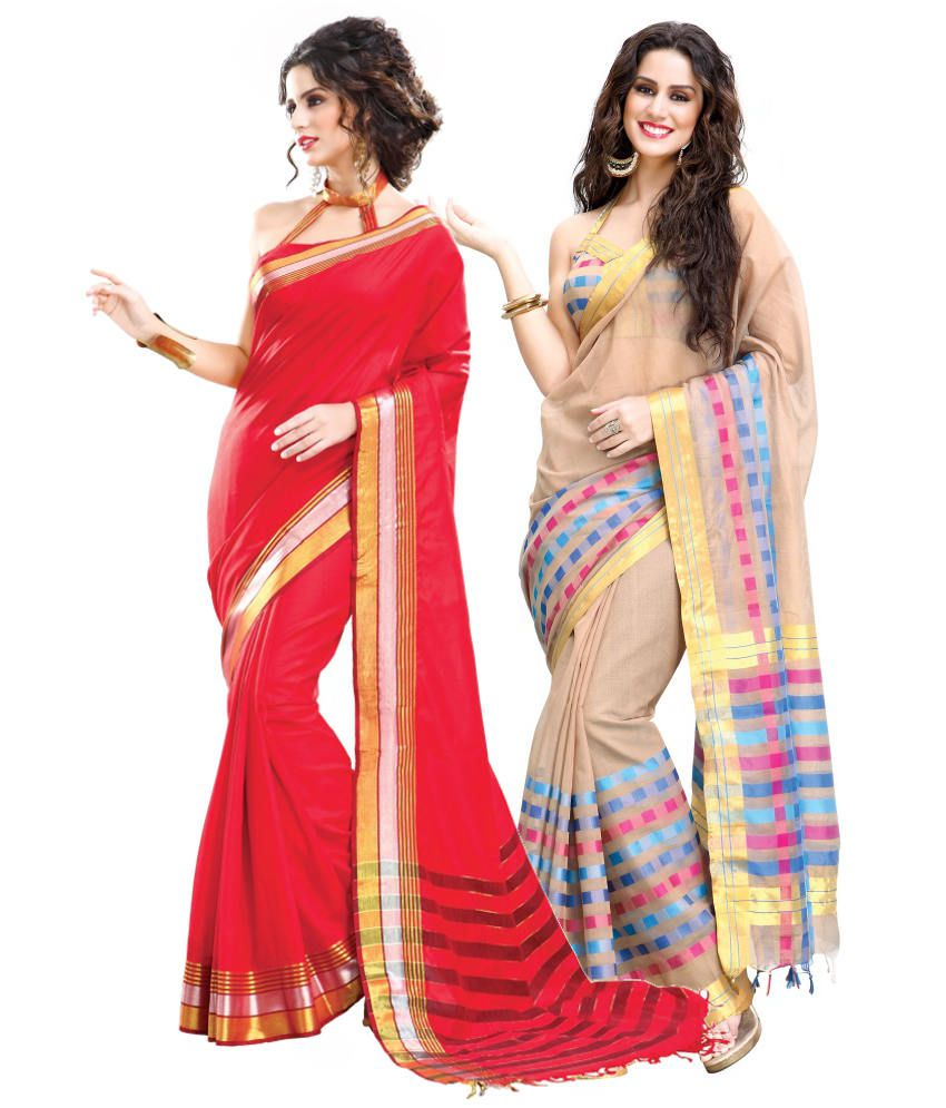 Reet Combo of Red and Beige Cotton Sarees with Blouse Piece