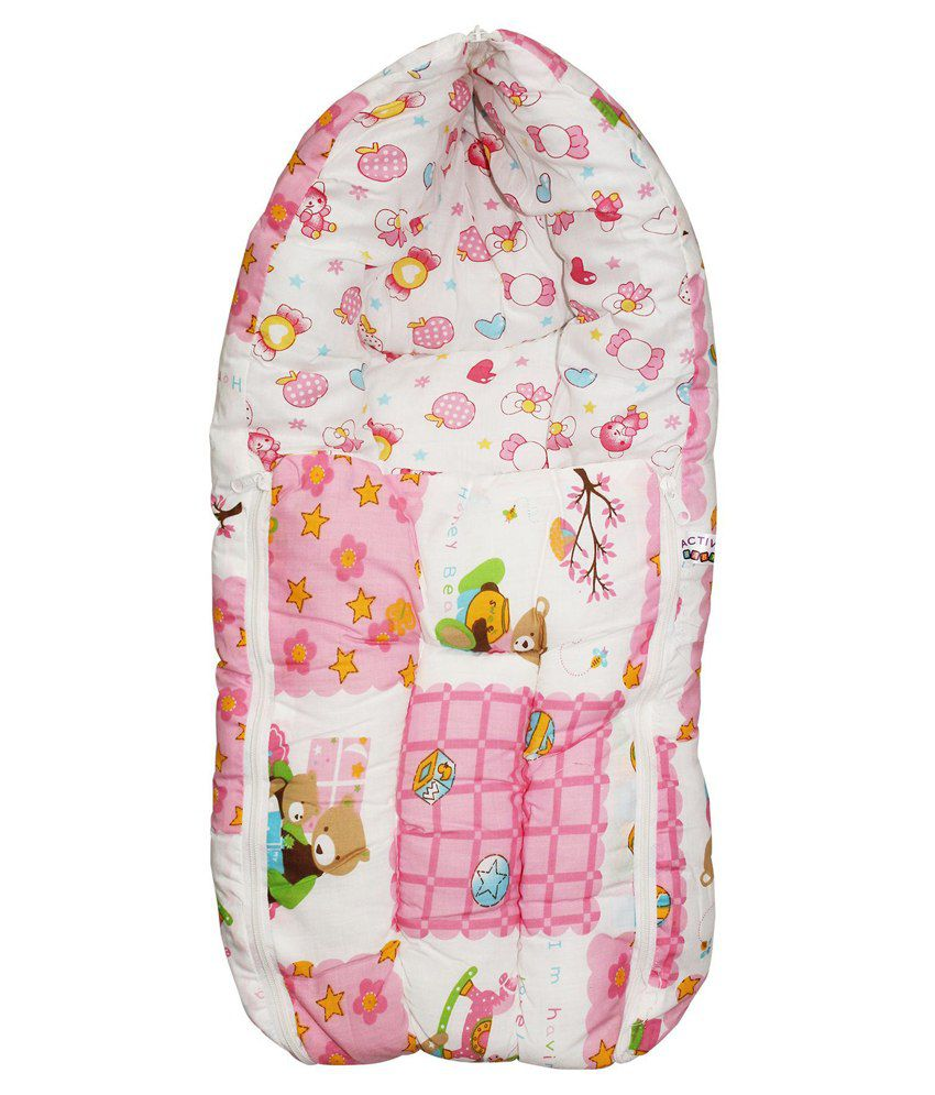 Wonderkids Pink Teddy Print Baby Carry Nest