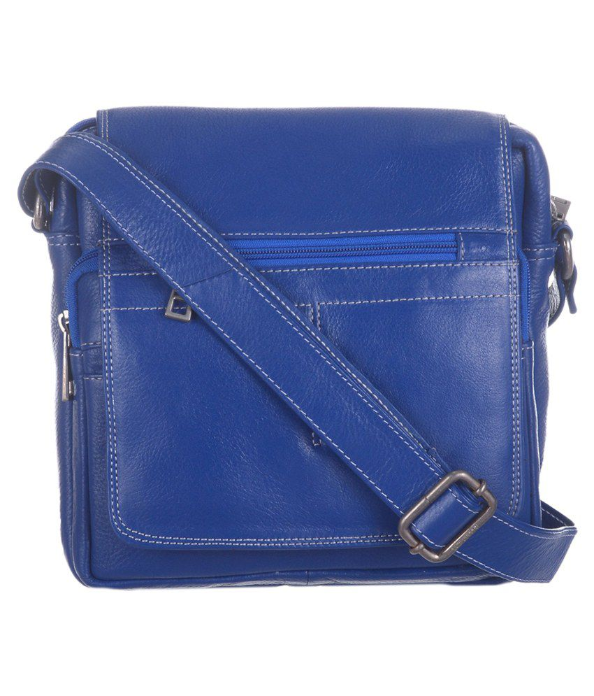Blu Whale Blue Leather Sling Bag