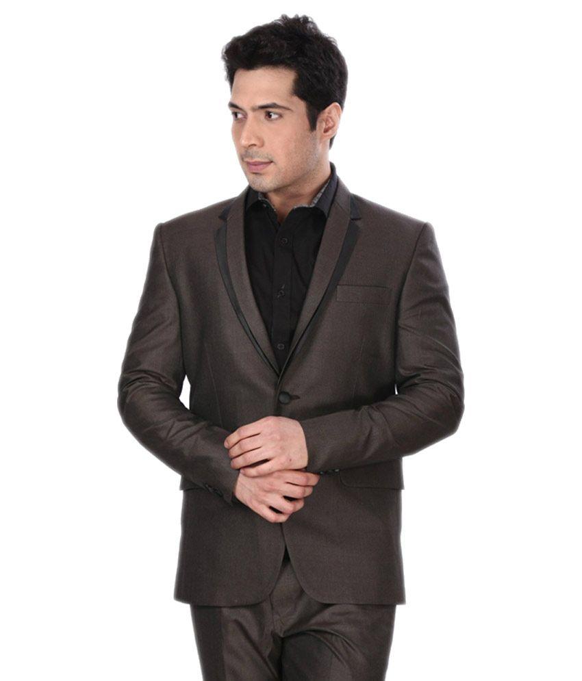Dheerajsharma Brown Poly Blend Suits