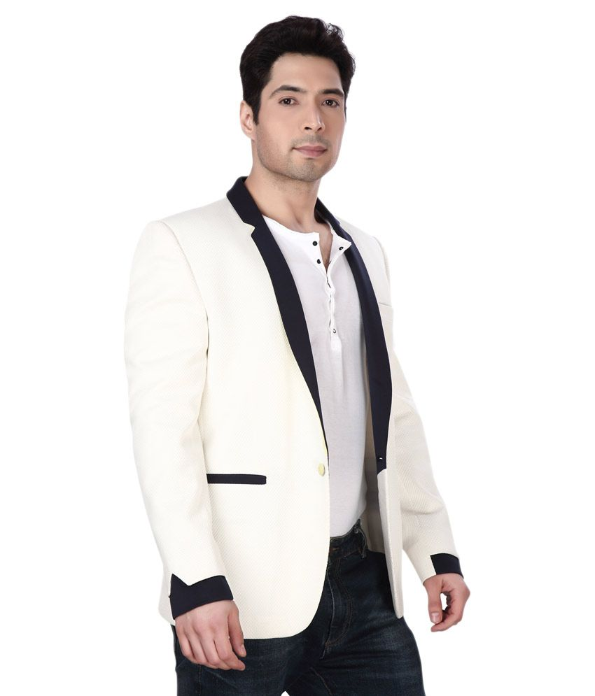 Dheerajsharma White Cotton Blend Blazer