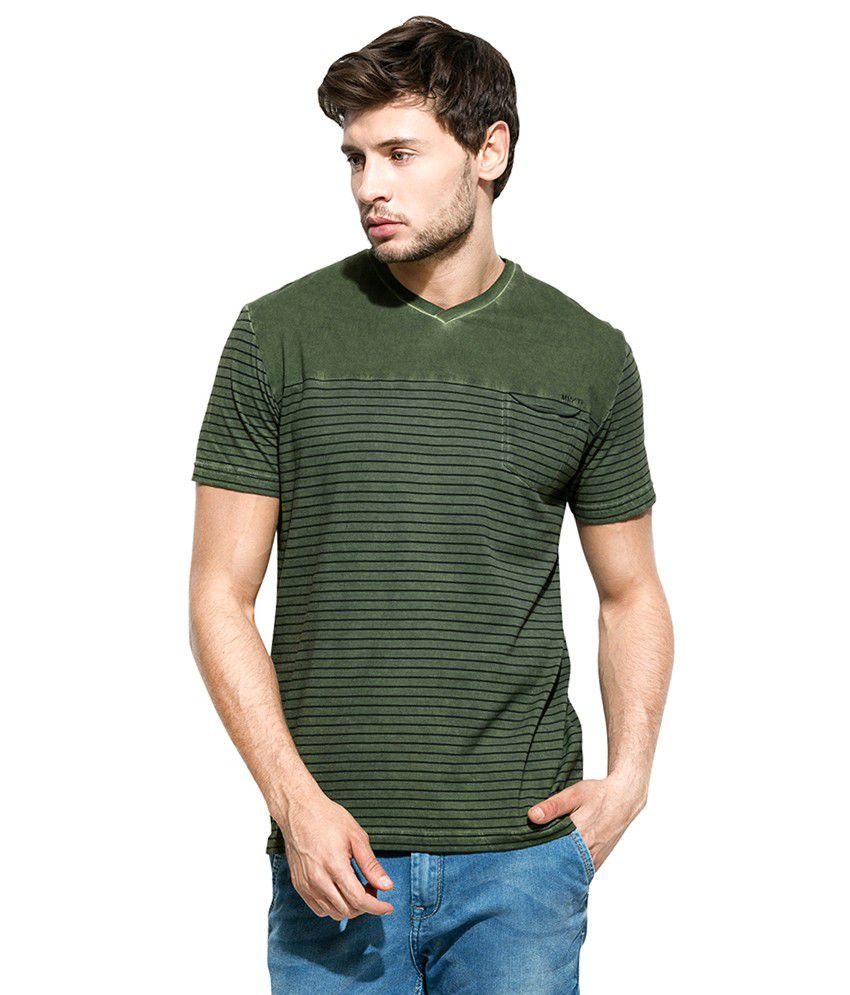 Mufti Green Striped V Neck T-Shirt