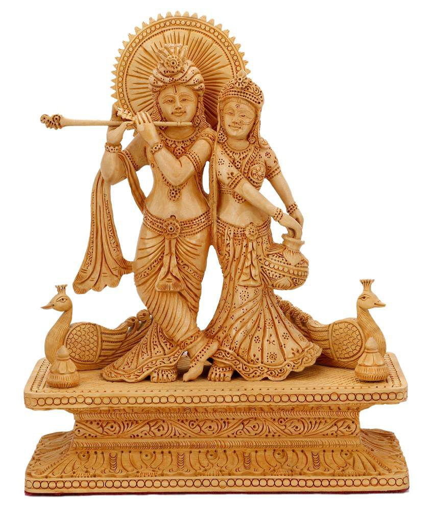 Collectible India Wooden Hindu God Goddess Radha Krishna ...