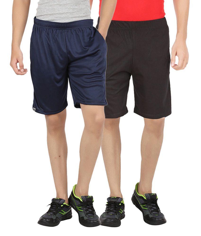DK Clues Navy Blue & Black Cotton Shorts (Pack of 2)