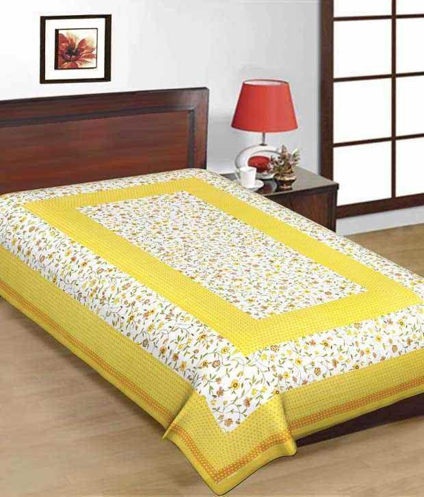 Kismat Collection Yellow Printed Cotton Bedsheet
