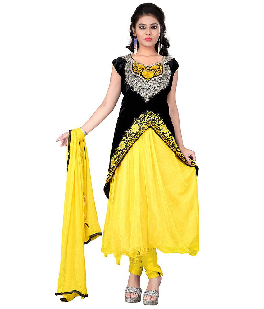 Regalia Ethnic Yellow Net Anarkali Semi Stitched Dress Material