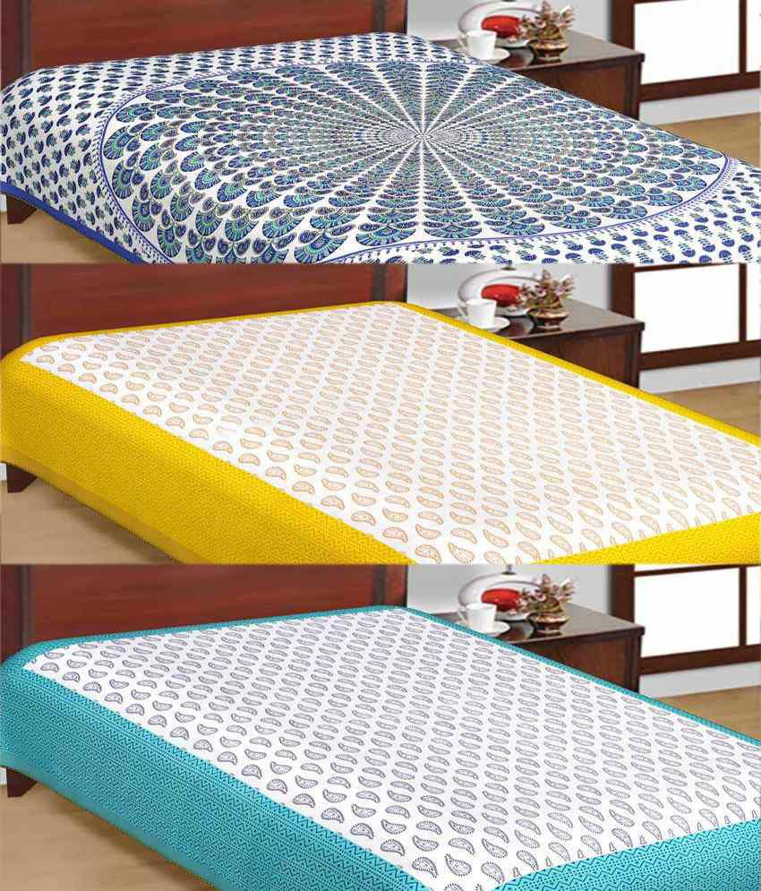 UniqChoice Rajasthani Traditional Print Cotton 3 Single Bed Sheet Combo
