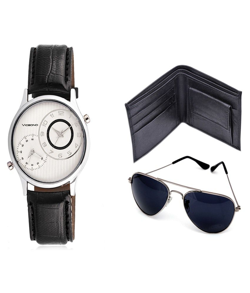 Vicbono Black Analog Watch With Wallet & Sunglasses
