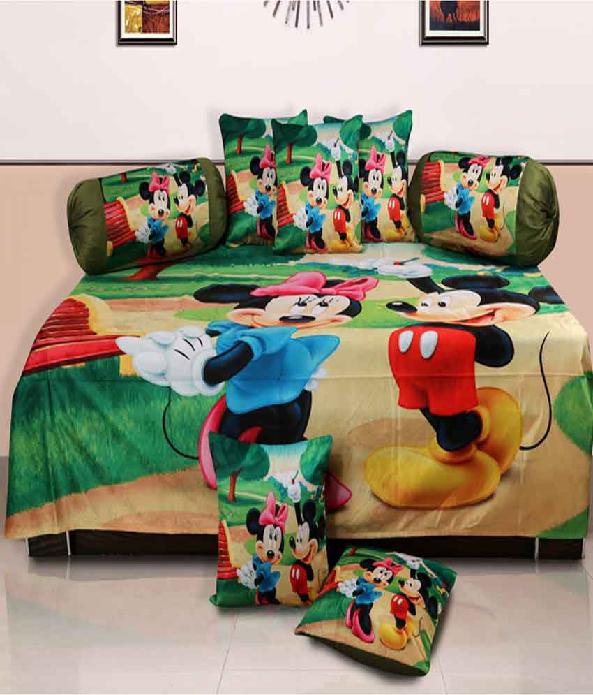 Dekor World Multi-Colour Baby themes Polyester Diwan Set