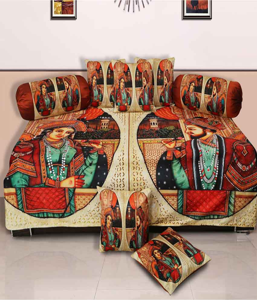 Dekor World Multi-Colour Traditional Polyester Diwan Set