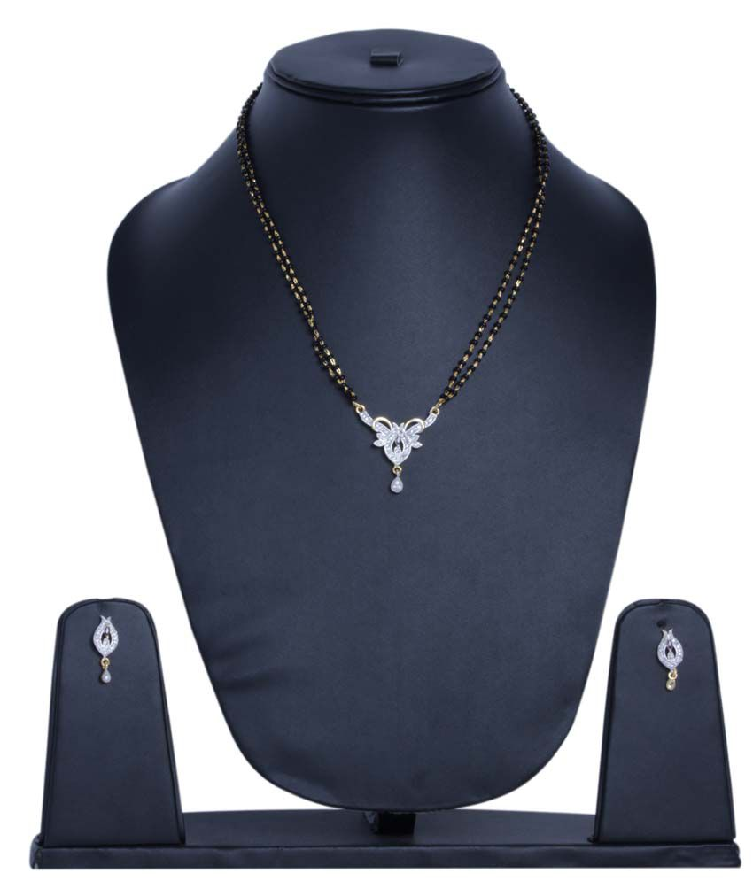 Foxy Trend Black Alloy American Diamond Mangalsutra Set